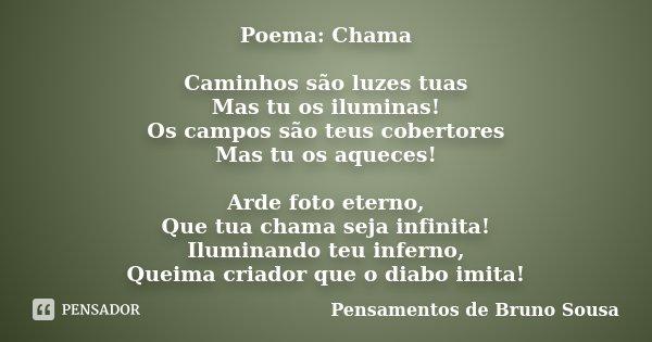 Poema: Chama Caminhos são luzes tuas Mas tu os iluminas! Os campos são teus cobertores Mas tu os aqueces! Arde foto eterno, Que tua chama seja infinita! Ilumina... Frase de Pensamentos de Bruno Sousa.