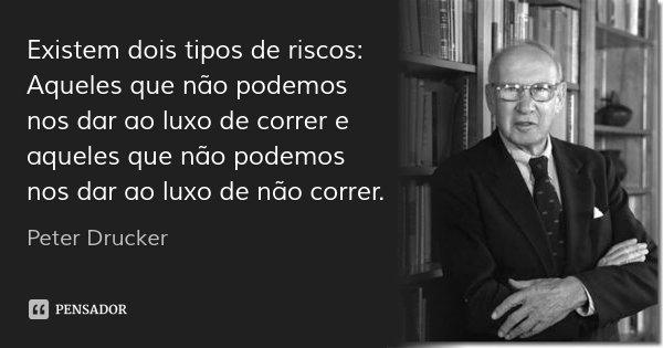 Existem dois tipos de riscos: Aqueles que não podemos nos dar ao luxo de correr e aqueles que não podemos nos dar ao luxo de não correr.... Frase de Peter Drucker.