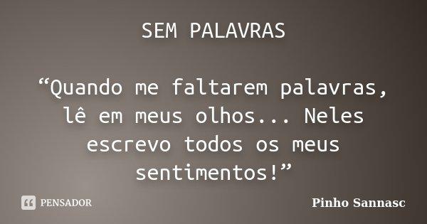 """SEM PALAVRAS """"Quando me faltarem palavras, lê em meus olhos... Neles escrevo todos os meus sentimentos!""""... Frase de Pinho Sannasc."""