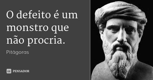 O defeito é um monstro que não procria.... Frase de Pitágoras.