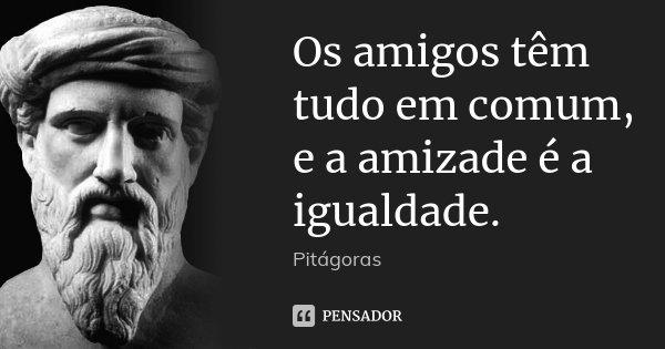 Os amigos têm tudo em comum, e a amizade é a igualdade.... Frase de Pitágoras.