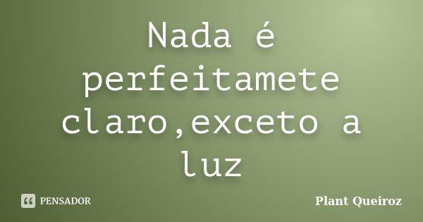Nada é perfeitamete claro,exceto a luz... Frase de Plant Queiroz.