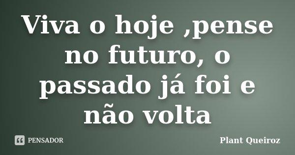 Viva o hoje ,pense no futuro, o passado já foi e não volta... Frase de Plant Queiroz.
