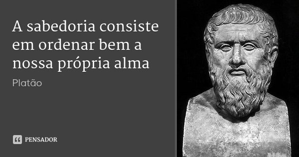 A sabedoria consiste em ordenar bem a nossa própria alma... Frase de Platão.