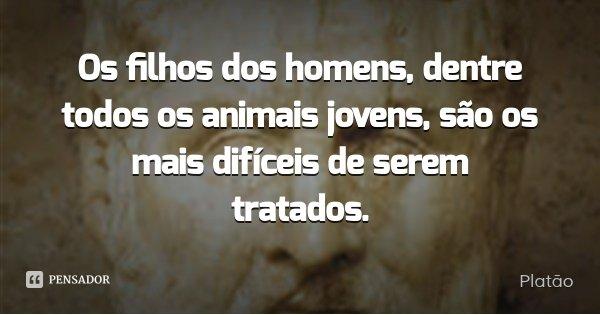Os filhos dos homens, dentre todos os animais jovens, são os mais difíceis de serem tratados.... Frase de Platão.