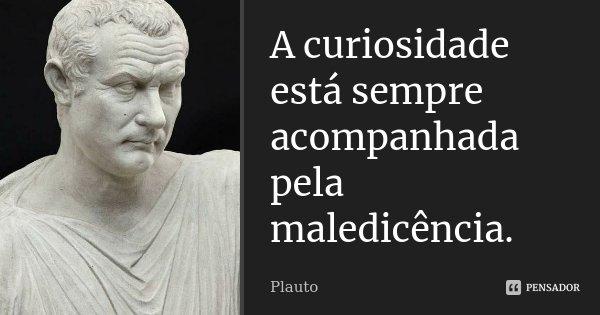 A curiosidade está sempre acompanhada pela maledicência.... Frase de Plauto.