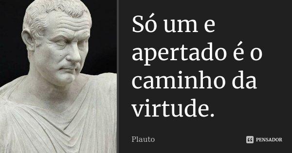 Só um e apertado é o caminho da virtude.... Frase de Plauto.