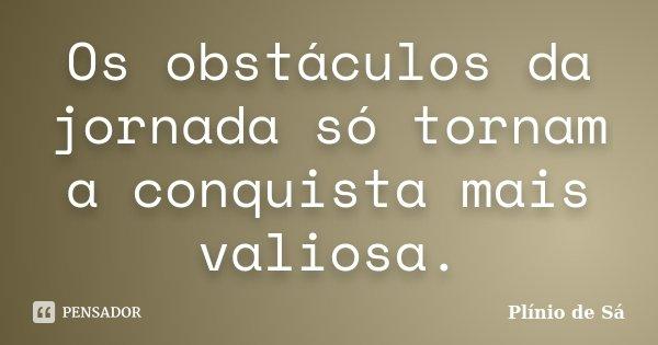 Os obstáculos da jornada só tornam a conquista mais valiosa.... Frase de Plínio de Sá.