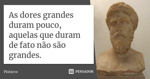 As dores grandes duram pouco, aquelas que duram de fato não são grandes.... Frase de Plutarco.