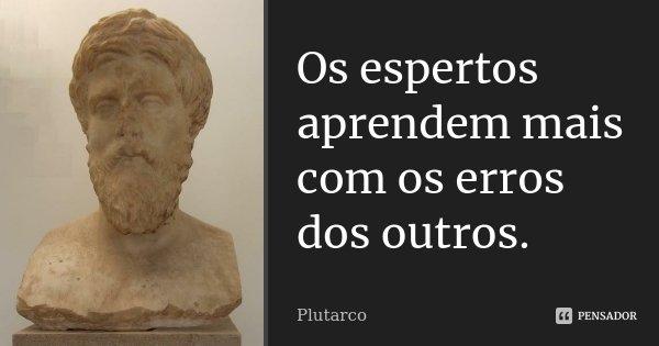 Os espertos aprendem mais com os erros dos outros.... Frase de Plutarco.