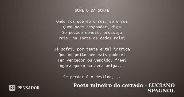 Soneto Da Sorte Onde Foi Que Eu Errei Poeta Mineiro Do Cerrado