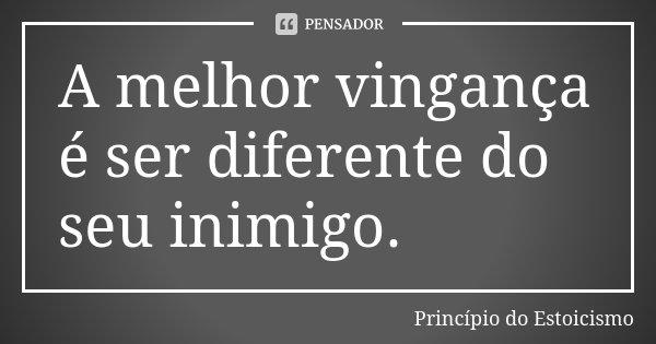 A melhor vingança é ser diferente do seu inimigo.... Frase de Princípio do Estoicismo.