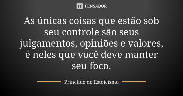 As únicas coisas que estão sob seu controle são seus julgamentos, opiniões e valores, é neles que você deve manter seu foco.... Frase de Princípio do Estoicismo.