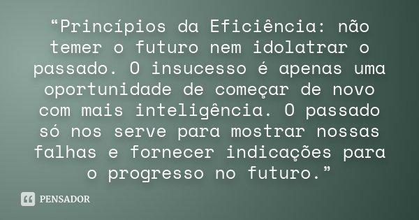 """""""Princípios da Eficiência: não temer o futuro nem idolatrar o passado. O insucesso é apenas uma oportunidade de começar de novo com mais inteligência. O passado... Frase de Desconhecido."""
