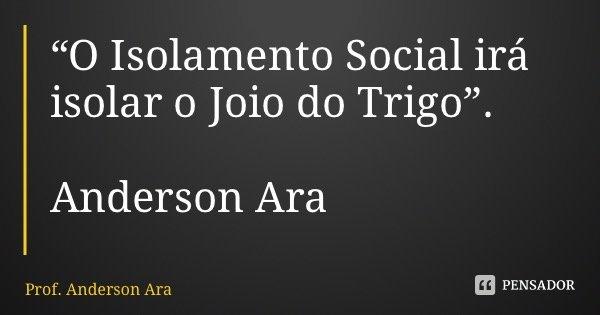 """""""O Isolamento Social irá isolar o Joio do Trigo"""". Anderson Araújo... Frase de Prof. Anderson Araújo."""