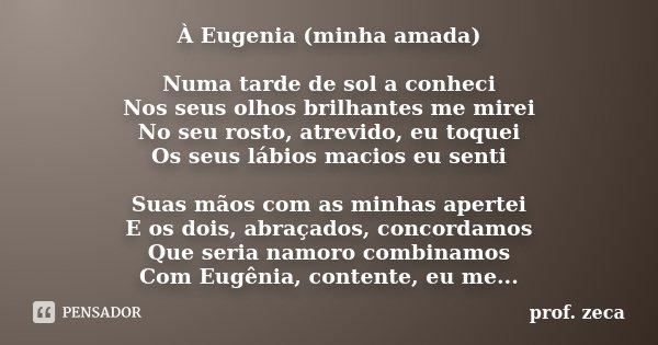 À Eugenia (minha amada) Numa tarde de sol a conheci Nos seus olhos brilhantes me mirei No seu rosto, atrevido, eu toquei Os seus lábios macios eu senti Suas mão... Frase de prof. Zeca.