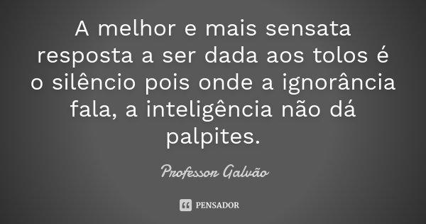 Quando A Ignorância Fala A Inteligência Não Dá Palpite: A Melhor E Mais Sensata Resposta A Ser... Professor Galvão