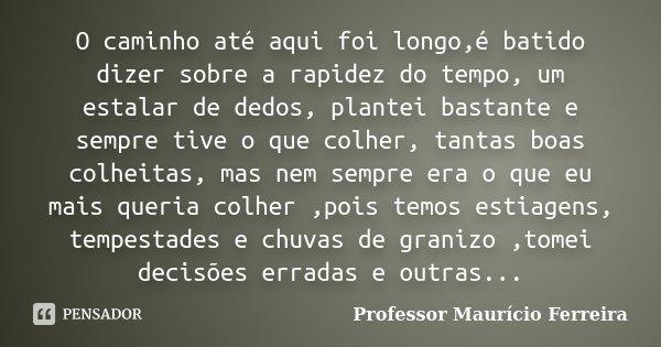 O caminho até aqui foi longo,é batido dizer sobre a rapidez do tempo, um estalar de dedos, plantei bastante e sempre tive o que colher, tantas boas colheitas, m... Frase de Professor Maurício Ferreira.