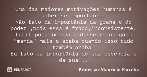 Uma das maiores motivações humanas é saber-se importante. Não falo da importânia da grana e do poder ,pois essa é fraca,inconsistente, fútil pois impera o dinhe... Frase de Professor Maurício Ferreira.