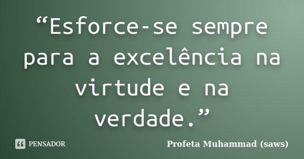"""""""Esforce-se sempre para a excelência na virtude e na verdade.""""... Frase de Profeta Muhammad (saws)."""