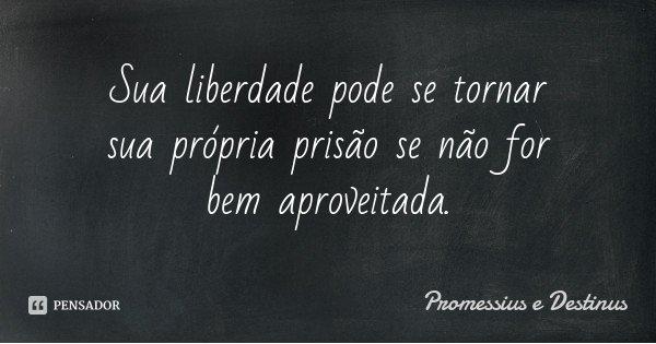 Sua liberdade pode se tornar sua própria prisão se não for bem aproveitada.... Frase de Promessius e Destinus.