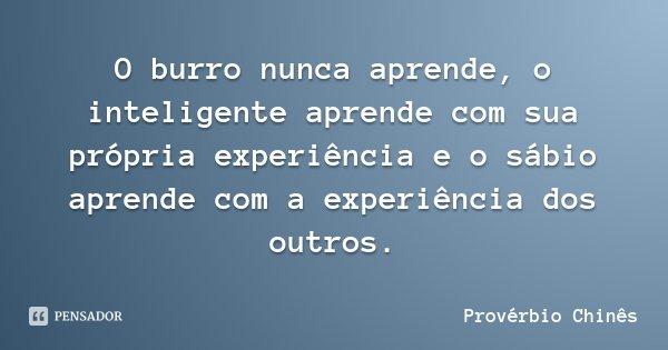 O burro nunca aprende, o inteligente aprende com sua própria experiência e o sábio aprende com a experiência dos outros.... Frase de Provérbio Chinês.
