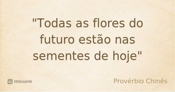"""""""Todas as flores do futuro estão nas sementes de hoje""""... Frase de Provérbio Chinês."""