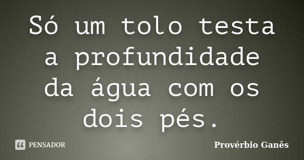 Só um tolo testa a profundidade da água com os dois pés.... Frase de Provérbio Ganês.