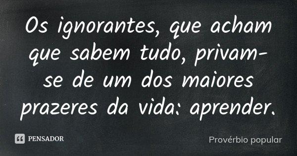 Os ignorantes, que acham que sabem tudo, privam-se de um dos maiores prazeres da vida: aprender.... Frase de Provérbio popular.