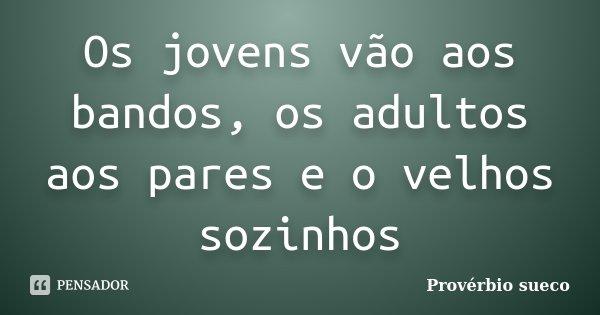 Os jovens vão aos bandos, os adultos aos pares e o velhos sozinhos... Frase de Provérbio Sueco.