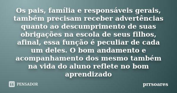 Os Pais Família E Responsáveis Prrsoares
