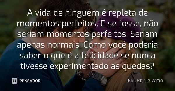 A vida de ninguém é repleta de momentos perfeitos. E se fosse, não seriam momentos perfeitos. Seriam apenas normais. Como você poderia saber o que é a felicidad... Frase de PS. Eu Te Amo.