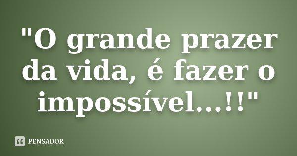"""""""O grande prazer da vida, é fazer o impossível...!!""""... Frase de Desconhecido."""