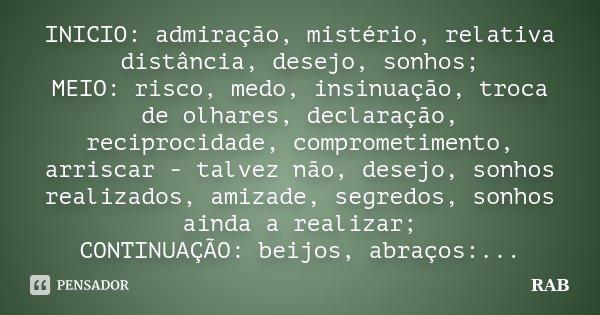 INICIO: admiração, mistério, relativa distância, desejo, sonhos; MEIO: risco, medo, insinuação, troca de olhares, declaração, reciprocidade, comprometimento, ar... Frase de RAB.