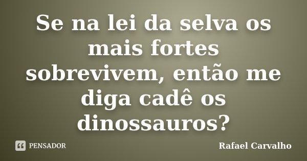 Se na lei da selva os mais fortes sobrevivem, então me diga cadê os dinossauros?... Frase de Rafael Carvalho.