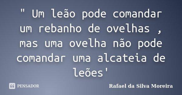 """"""" Um leão pode comandar um rebanho de ovelhas , mas uma ovelha não pode comandar uma alcateia de leões'... Frase de Rafael da Silva Moreira."""