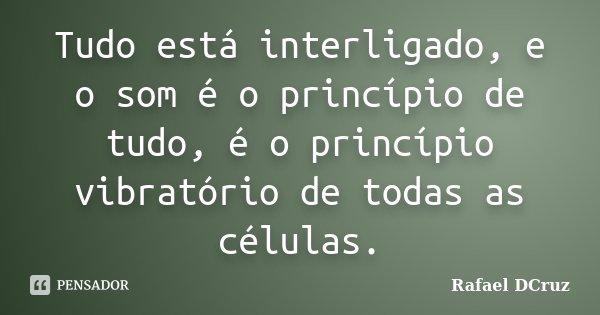 Tudo está interligado, e o som é o princípio de tudo, é o princípio vibratório de todas as células.... Frase de Rafael DCruz.