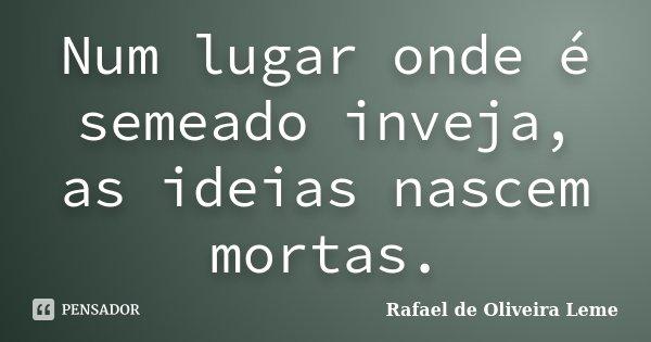 Num lugar onde é semeado inveja, as idéias nascem mortas.... Frase de Rafael de Oliveira Leme.