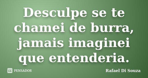 Desculpe se te chamei de burra, jamais imaginei que entenderia.... Frase de Rafael Di Souza.
