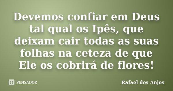 Devemos confiar em Deus tal qual os Ipês, que deixam cair todas as suas folhas na ceteza de que Ele os cobrirá de flores!... Frase de Rafael Dos Anjos.