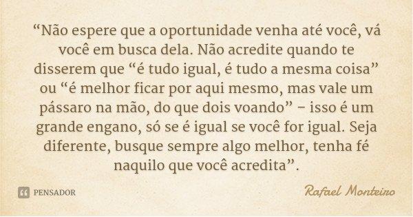 """""""Não espere que a oportunidade venha até você, vá você em busca dela. Não acredite quando te disserem que """"é tudo igual, é tudo a mesma coisa"""" ou """"é melhor fica... Frase de Rafael Monteiro."""