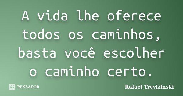 A vida lhe oferece todos os caminhos, basta você escolher o caminho certo.... Frase de Rafael Trevizinski.