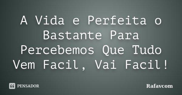 A Vida e Perfeita o Bastante Para Percebemos Que Tudo Vem Facil, Vai Facil!... Frase de Rafavcom.