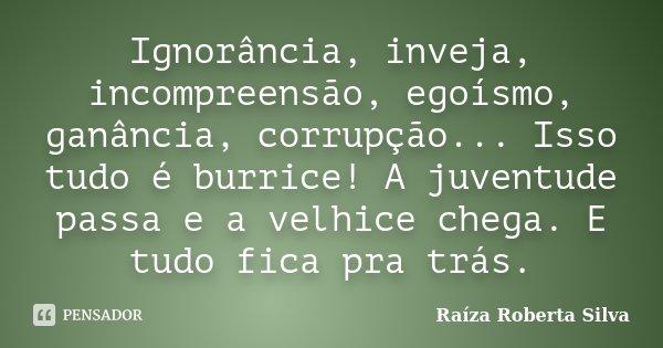 Ignorância, inveja, incompreensão, egoísmo, ganância, corrupção... Isso tudo é burrice! A juventude passa e a velhice chega. E tudo fica pra trás.... Frase de Raíza Roberta Silva.
