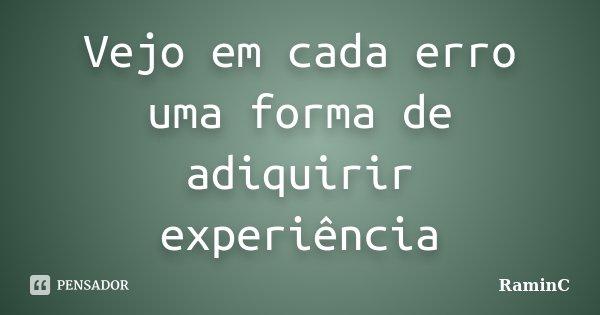 Vejo em cada erro uma forma de adiquirir experiência... Frase de RaminC.