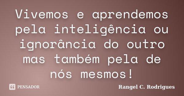 Vivemos e aprendemos pela inteligência ou ignorância do outro mas também pela de nós mesmos!... Frase de Rangel C. Rodrigues.