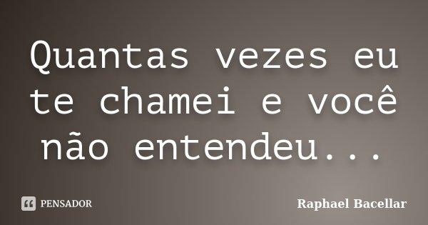 Quantas vezes eu te chamei e você não entendeu...... Frase de Raphael Bacellar.