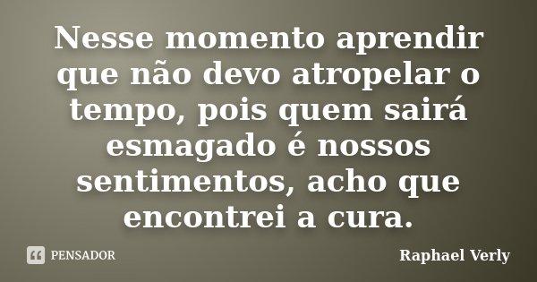 Nesse momento aprendir que não devo atropelar o tempo, pois quem sairá esmagado é nossos sentimentos, acho que encontrei a cura.... Frase de Raphael Verly.