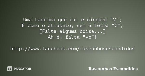 """Uma lágrima que cai e ninguém """"V""""; É como o alfabeto, sem a letra """"C""""; [Falta alguma coisa...] Ah é, falta """"vc""""! http://www.facebo... Frase de Rascunhos Escondidos."""