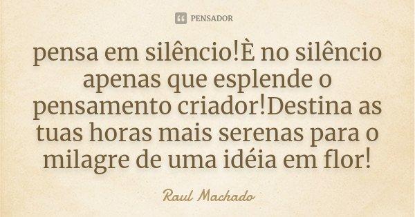 pensa em silêncio!È no silêncio apenas que esplende o pensamento criador!Destina as tuas horas mais serenas para o milagre de uma idéia em flor!... Frase de Raul Machado.